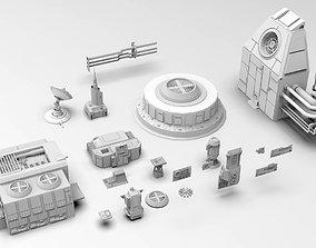 Scifi dressing kitbash set 3D asset low-poly