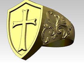 Knight Templar Ring Masonic College 3D printable model 1