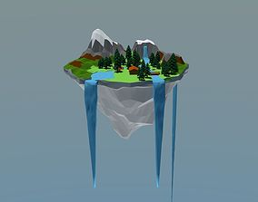 floating Island 3D asset game-ready