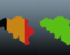 Belgium map symbol 3D model