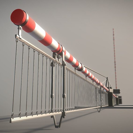 Low-Poly Railroad Barrier 9m with Protective Grid