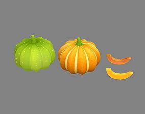 3D model Cartoon Vegetable - pumpkin and piece