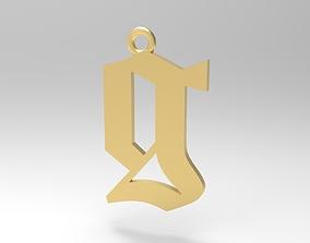 Gothic Alphabets Little G Pendants 3D print model