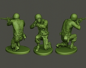 3D printable model American soldier ww2 Shoot crouched A5