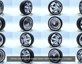 3D model ORTAS CAR RIM 63-64 GAME READY RIM TIRE AND DISC