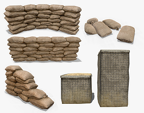 3D model Sandbags and Hesco Barrier Collection