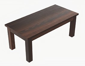 3D model Wooden rectangle coffee table