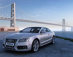 Grey Audi A5 Coupe On The Coast 3D