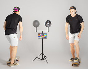 Handsome man riding a skateboard 174 3D asset