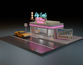 3D model simple route 66 low poly scene