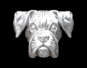 Boxer dog bas relief for medaillon or pendant 3D print