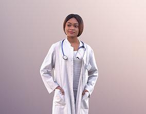Iona 10928 - Female Black Doctor Standing Hands 3D asset 1