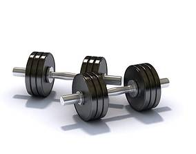 Black Metallic Pair Of Dumbbells 3D