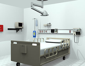 3D Hospital Room Medical Equipment with Animated ECG