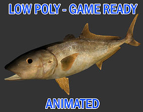 Low poly Amberjack Fish Animated - Game Ready 3D model