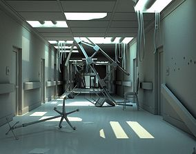3D model Hallway Damaged White