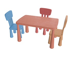 3D PBR Table and chairs