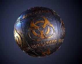 3D model Metal biohazard Sign Sci-Fi Seamless PBR Texture