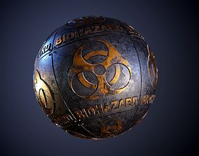 3D model Metal biohazard Sign Sci-Fi Seamless PBR Texture