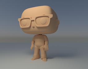 Custom Pop Bald Man Glasses Figure 3D Print 3D print