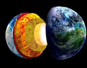Crust mantle earth profile geocentric 3D model