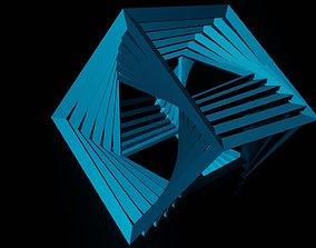 Abstract cubes 3D print model digital