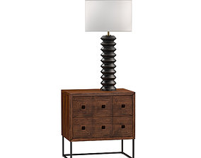 Rivet nightstand and coastal table lamp 3D model
