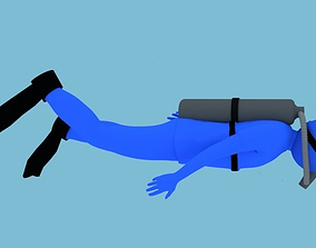 3D model Animated Diver Swimming