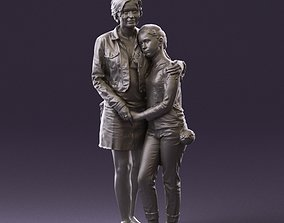 001031 woman in jeans clothes with daughter 3D Print