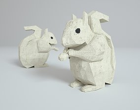 Low Polygon Paper Squirrel 3D model