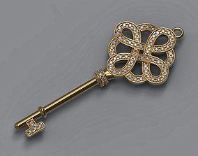 Gold key printable model diamonds pendant 3d modelling 2