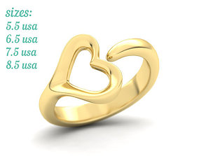 Open Heart Ring elegant design N0273 3D printable model