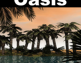 Low Poly oasis 3D model
