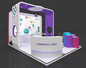 Exhibition stall 3d model 5x4 mtr 3 sides open
