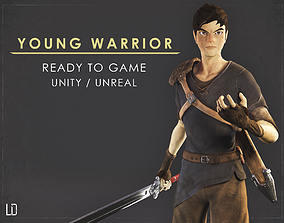 animated Young Warrior - Ver1 - Ready to Game - Low Poly 2