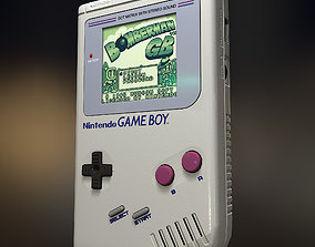 low poly model of Gameboy PBR game-ready