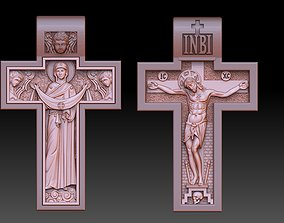 orthodox cross crucified and virgin 3D printable model 1