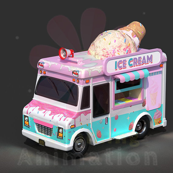 Ice-Cream Truck || Textured || Low-poly Game Ready Model
