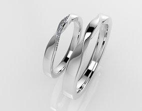 3D printable model Wedding twist rings