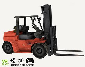 Forklift Red Low Poly 3D asset