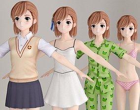 T pose nonrigged model of Misaka Mikoto anime girl 3D
