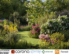 3D model Garden shrub flowers Collection- Include GrowFX 3