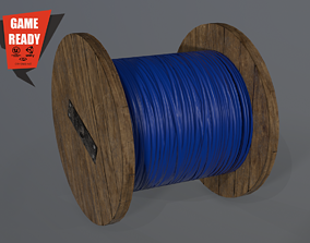 3D asset Cable Spool Low poly