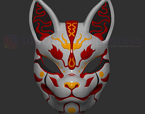 Japanese Fox Mask Demon Kitsune Costume 3D print model 3