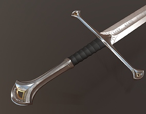 Anduril Long Sword LOTR - PBR Low Poly Model low-poly