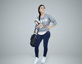 3D model Casual Woman Wearing Grey Sweatshirt