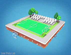 3D asset Cartoon Football Field