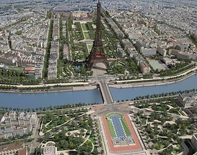 Paris City Eiffel Tower Mars Fields 3D