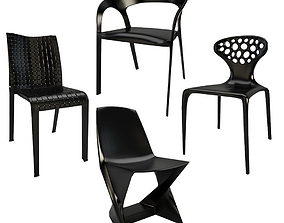 Outdoor Plastic Black Chairs 3D model ami