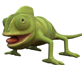 reptile chameleon cartoon rigged character 3D